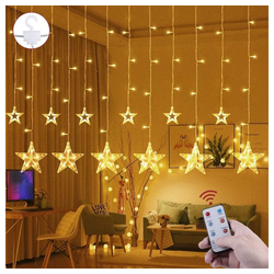 Quntis LED-Lichterkette, Sterne, Fernbedienung mit Timer 2.2 m