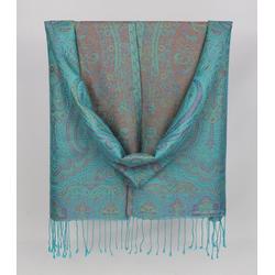ZEBRO Pashmina Seiden-Pashmina-Schal mit Ornamenten blau