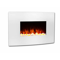 RICHEN Elektrokamin Enjo, RICHEN Elektrokamin Enjo - Wandkamin Mit Heizung, LED-Beleuchtung, 3D-Flammeneffekt & Fernbedienung - Weiß