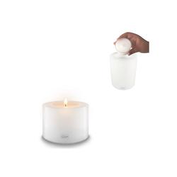 Qult Teelichthalter Qult Teelicht-Halter Trend 10cm Dauerkerze Kunststoff-Kerze Teelichtkerze in schwarz und weiss weiß 8 cm