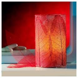 JOKA international LED-Kerze Flammenlose Echtwachskerze Made by Nature, beklebt mit echten Blättern in rot