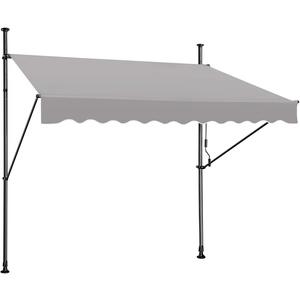 Froadp Klemmmarkise 250cm Gelenkarmmarkise Markise Balkon Balkonmarkise 1,2 * 2,5m UV-beständig Einziehbar Klemmmarkise mit Handkurbel Höhenverstellbar Grau