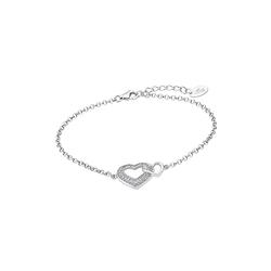 LOTUS SILVER Silberarmband JLP1917-2-1 Lotus Silver Doppelherz Armband (Armbänder), 925 Sterling Silber Doppelherz, Farbe: silber, weiß