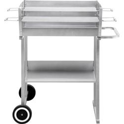 Tepro Garten Pasadena Grillwagen Holzkohle-Grill mit Windschutz Silber