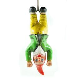Kremers Schatzkiste Gartenzwerg Gartenzwerg am Bungee Seil 39 cm PVC Zwerg Garten Zwerg Figur
