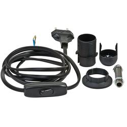 VBS Lampenfassung Lampenfassung-Set E14 schwarz, mit Stecker