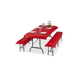 relaxdays Bierzeltgarnitur Bierzeltgarnitur Auflage 3er Set rot