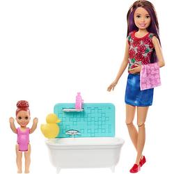 Barbie Skipper Babysitter Puppe (brünett), Spielset mit Baby-Puppe & Badewanne