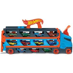 Hot Wheels Spielzeug-Transporter 2-in-1 Rennbahn-Transporter, mit drei Hot Wheels Fahrzeugen