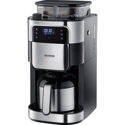 Severin Filterkaffeemaschine mit Mahlwerk und Edelstahl-Thermokanne, Kaffeemaschine Schwarz, Edelsta