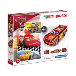 Clementoni® Puzzle Puzzle 104 Teile + 3D Modell - Cars, Puzzleteile