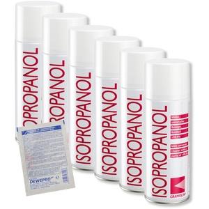 ISOPROPANOL - 6x 200ml Spraydose - Isopropylalkohol - hochreines Lösungsmittel - Reinheit > 99,9% - Universalreiniger - Cramolin - 4021411 inkl. 1 St. DEWEPRO® SingleScrubs - 2-Propanol IPA