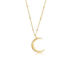 Elli Kette mit Anhänger Halbmond Moon Sichel Astro 925 Silber, Halbmond goldfarben