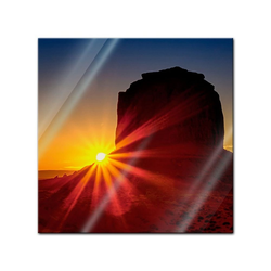 Bilderdepot24 Glasbild, Glasbild - Panorama Sunrise - Panorama Sonnenaufgang 20 cm x 20 cm