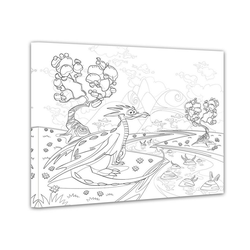 Bilderdepot24 Wandbild, Drache - Ausmalbild 50 cm x 40 cm