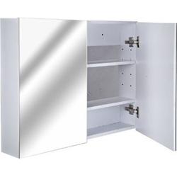 HOMCOM Badspiegelschrank zur Wandmontage weiß 15 x 80 x 60 cm (LxBxH)   Badspiegel Spiegel Schrank Badezimmerspiegel