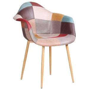 Zons 4er-Set ORAZ Stuhl/Sessel, Patchwork, Metalleinsatz, Holzoptik