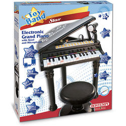 Elektronisches Grand Piano, mit Stuhl und Mikrofon schwarz