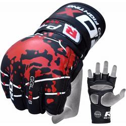 RDX F2 Schwarze MMA Handschuhe aus Leder (Größe: L, Farbe: Rot)