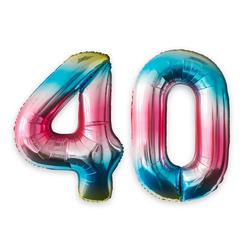MyBeautyworld24 Folienballon Folienballon Regenbogen Zahlenballon Heliumballon Riesenzahl Luftballon Party Kinder-Geburtstag Zahl 40