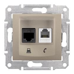 Dose für Netzwerk und Telefon Cat. 6 Satin Sedna Schneider SDN5200168/SCH