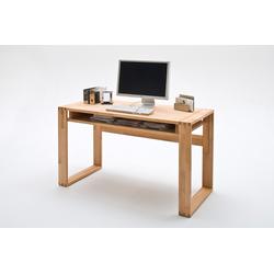 Schreibtisch in Kernbuche massiv, geölt, mit 1 Fach und Fingerzinken, Maße: B/H/T ca. 135/76/60 cm