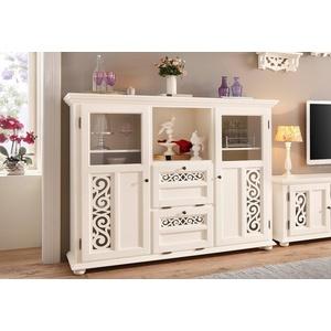 Home affaire Highboard Arabeske, erstrahlt in einer schönen Holzoptik, mit dekorativen Fräsungen auf den Türfronten, Breite 160 cm