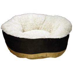 Snuggel Kuschelbett für Katzen und kleine Hunde mit Plüsch - beige-braun