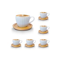 Melody Tasse Porzellan Tassen Set Teeservice Kaffeeservice mit Bambus Untertassen 12-Teilig (12-tlg), Porzellan, Espressotassen, 6er-Set, mit Bambus Untertassen weiß 10 cl - 100 ml - Ø 6.5 cm x 6.5 cm x 6 cm