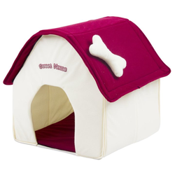 Hundehaus Hundehütte aus Stoff Sweet Home - 40 x 40 x 45 cm - weiss-rot