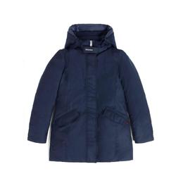 WOOLRICH Parka WOOLRICH Woll-Parka wind- und wasserabweisende Damen Luxus-Jacke mit Kapuze Outdoor-Jacke Blau