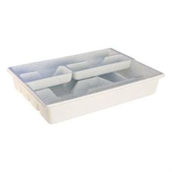 Besteckkasten mit Schieber, Maße: 40 x 30 x 7 cm,, weiß