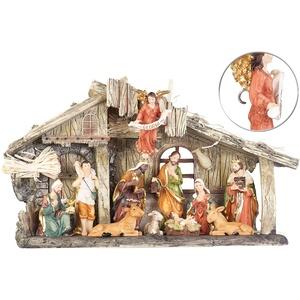 Weihnachtskrippe aus Polyresin mit 11 handbemalten Figuren