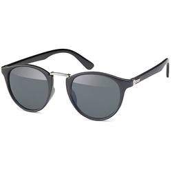 styleBREAKER Sonnenbrille Sonnenbrille mit runden Gläsern und Metall Nasensteg Getönt schwarz