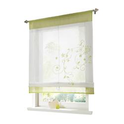 Raffrollo Bestickt Raffgardine Vorhang Gardine Fenstervorhang Scheibengardinen, i@home, mit Schlaufen grün 100 cm x 140 cm