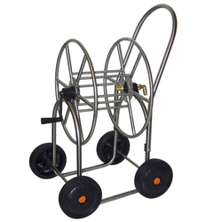 Schlauchwagen aus Edelstahl, mit 4 Rädern