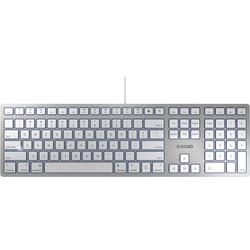CHERRY KC 6000 Slim für MAC USB Tastatur US-Englisch, QWERTY, Mac Silber, Weiß