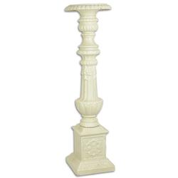 Casa Padrino Barock Kerzenständer Weiß 19,5 x 19,5 x H. 69,5 cm - Edler Gusseisen Kerzenhalter im Barockstil