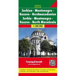 Serbien / Montenegro / Mazedonien 1 : 500 000. Autokarte
