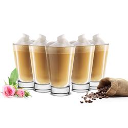 Sendez Latte-Macchiato-Glas 6 Latte Macchiato Gläser 310ml Kaffeegläser Teegläser mit Kaffee-Aufdruck natur