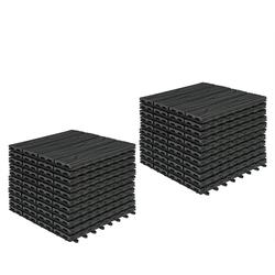 Woltu Terrassenfliesen GTF006, 22er-Set WPC Balkonfliesen in Holzoptik mit Relief