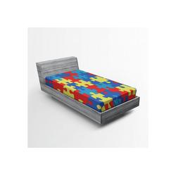 Spannbettlaken Soft Dekorativer Stoff Bettwäsche Rund-um Elastischer Gummizug, Abakuhaus, Autismus Layout von Puzzles 90 cm x 200 cm