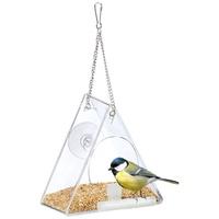 Relaxdays Vogelhaus Vogelfutterhaus für Fenster dreieckig