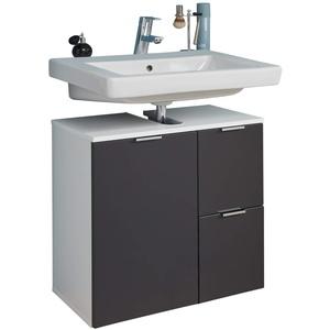 trendteam smart living Badezimmer Waschbeckenunterschrank Unterschrank Concept One, 60 x 64 x 34 cm Front Graphit Grau Matt, Korpus Weiß Melamin mit viel Stauraum