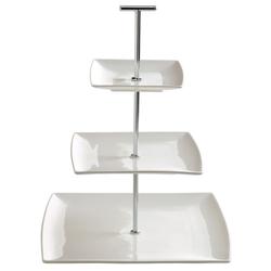Etagere 3-stöckig Porzellan weiß DESIGNER H JX250126 (LBH 26x26x33,5 cm)