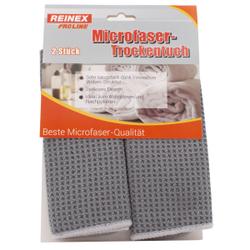 REINEX Mikrofaser-Trockentuch 40 x 30 cm, Ideal zum Abtrocknen und Nachpolieren, 1 Packung = 2 Stück, Farbe: grau
