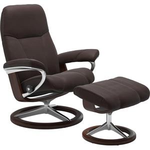 Stressless® Relaxsessel Consul (Set, Relaxsessel mit Hocker), mit Hocker, mit Signature Base, Größe S, Gestell Eiche braun