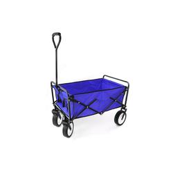 RAMROXX Bollerwagen Garten Transport Faltwagen Handwagen Bollerwagen klappbar bis 80kg blau