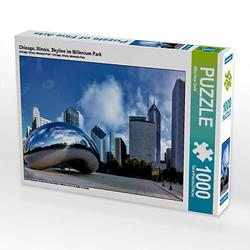 Chicago, Illinois, Skyline im Millenium Park Lege-Größe 64 x 48 cm Foto-Puzzle Bild von Mike Hans Steffl Puzzle