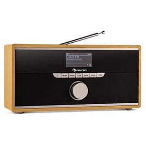 auna Weimar - Internetradio, Digitalradio, DAB-Radio, WLAN, DAB+/UKW-Tuner, 10 Senderspeicher, Bluetooth, 3,5 mm-AUX-Eingang, 2 X Wecker, Fullrange-Speaker, Retro, Holzgehäuse, buche